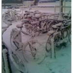 Snow and bikes in Amsterdam