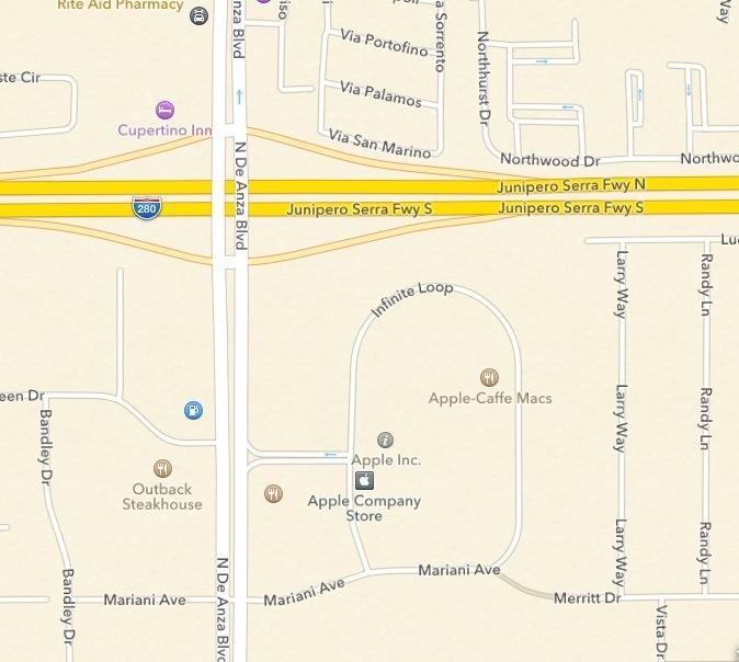 Locatie van het Apple Maps-icoon