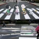 Kunst op een zebrapad met Snoopy en Charlie Brown