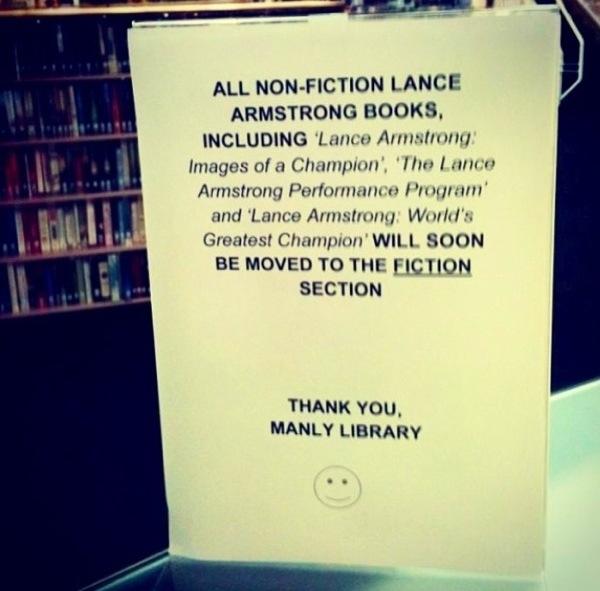Lance Armstrong. Non-fictie boek wordt fictieboek. Bibliotheekhumor