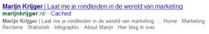 Zoekresultaat in Google blauwe link groene url zwarte (meta)omschrijving