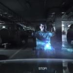 Heldere boodschap van hologram op gehandicaptenparkeerplaats