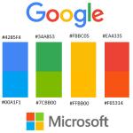 De kleurverschillen tussen de logo's van Google en Microsoft