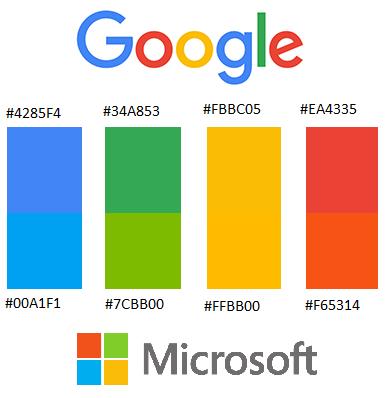 kleuren Google en Microsoft