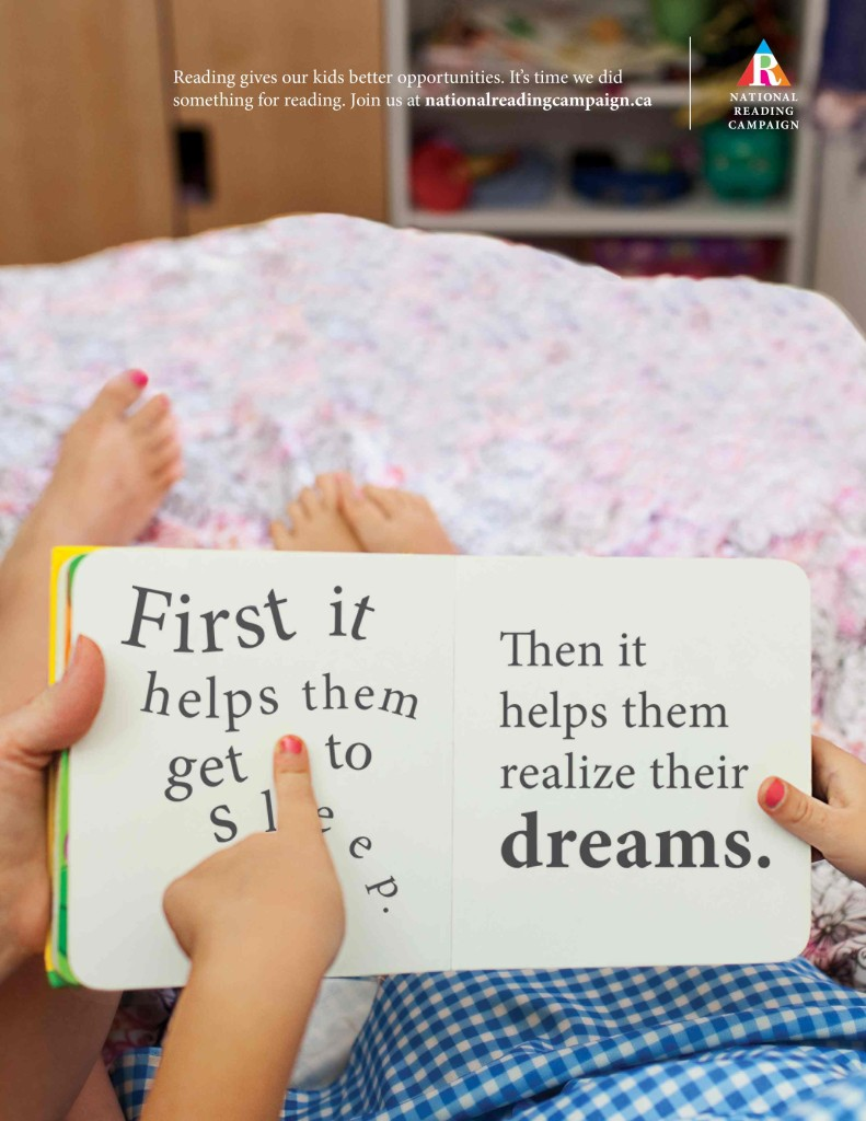 national reading campaign first it helps them to get to sleep, then it helps them to realize their dreams