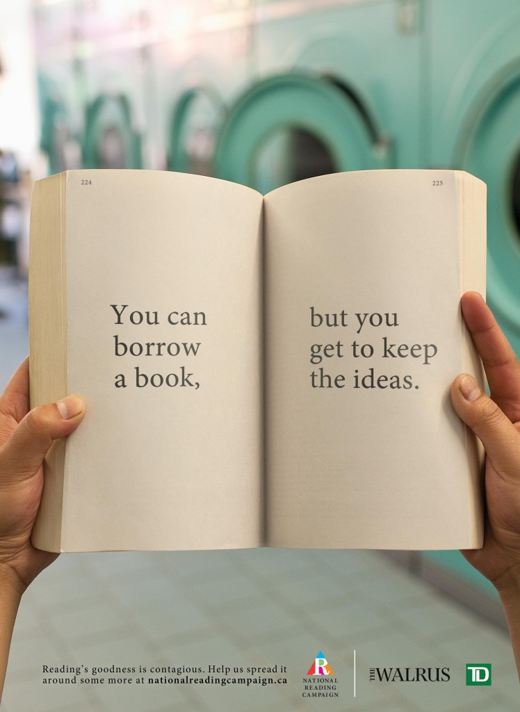 national reading campaign you can borrow a book but you get to keep the ideas