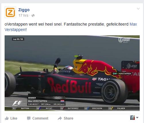 Ziggo overstappen Max Verstappen winst Barcelona