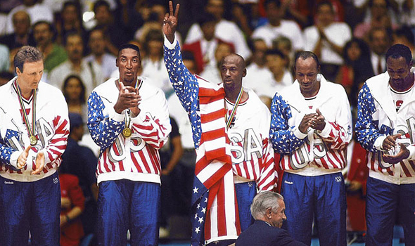 1992 Olympics Reebok logo covered Michael Jordan flag
