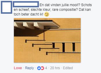 foto marijn krijger op facebookpagina Hilversum commentaar op foto