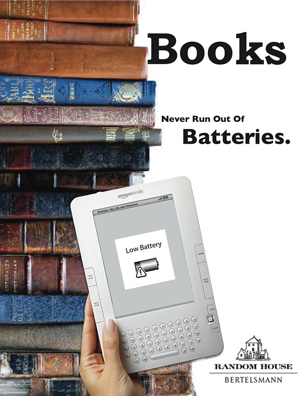 books never run out of batteries, Amazon, Kindle, Bertelsmann