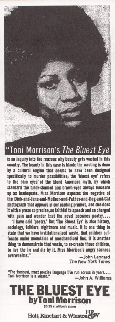 1970 toni morrison the bluest eye