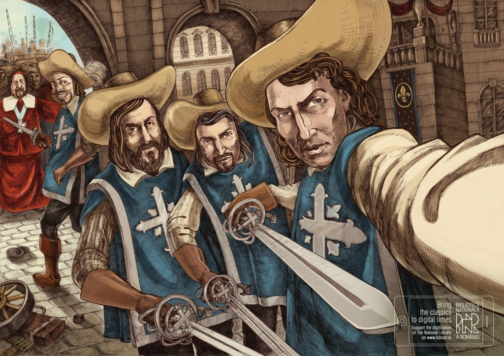 Bieb Roemenie musketeers-selfie_Bring the classics to digital times. Support the digitization of The National Library on www.bibnat.ro