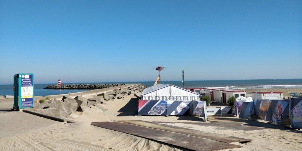 Finish Volvo Ocean Race Den Haag Scheveningen 2018 het mediacentrum naast het havenhoofd
