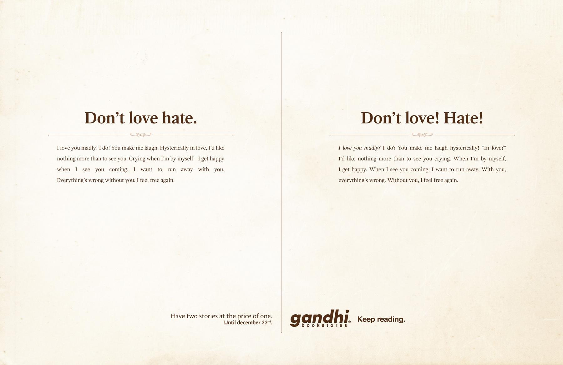 gandhi-bookstores-twee verhalen don't love hate