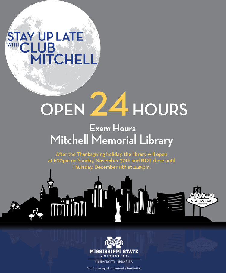 24 hours open mitchell memorial library