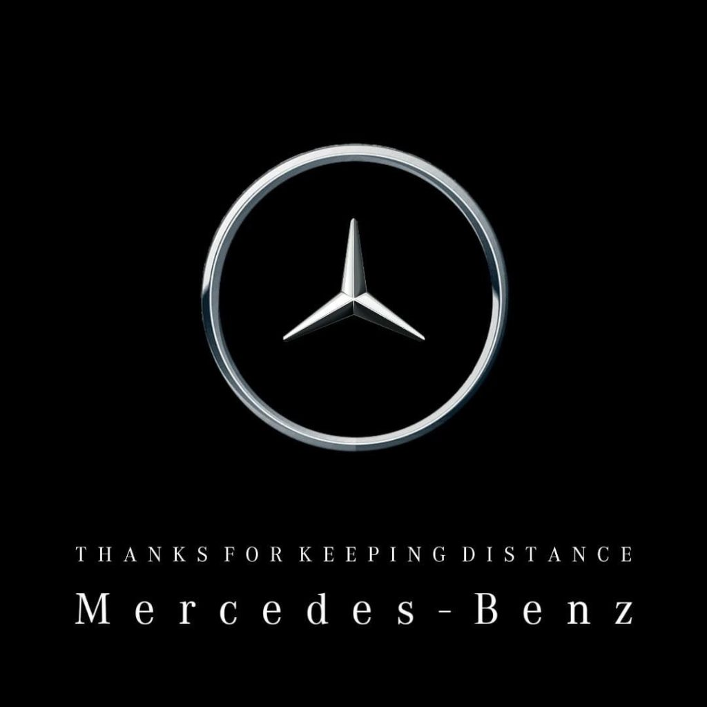 mercedes benz social distance logo and thank you message