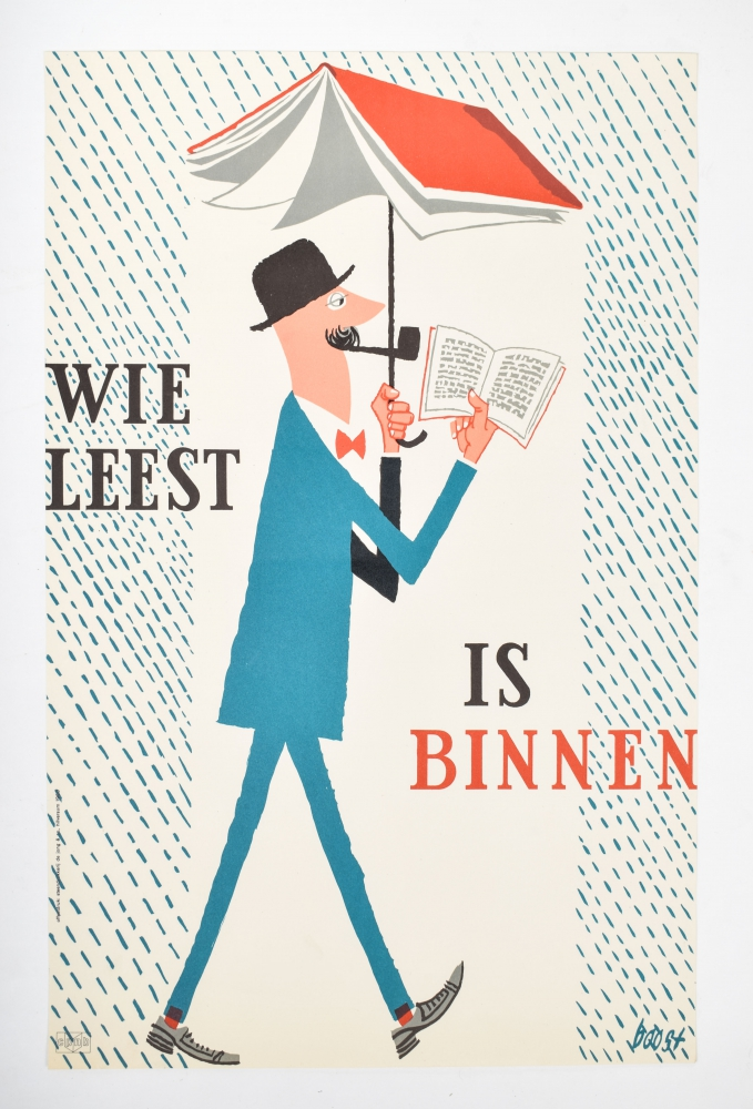 Charles Boost wie leest is binnen 1960 paraplu boek