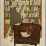 Boekenkast, fauteuil, lezen.