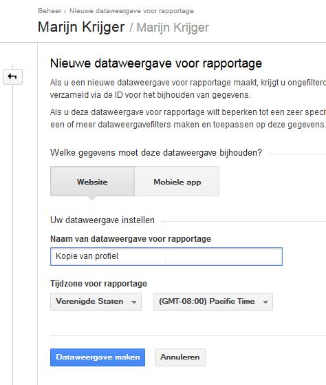 5 Google Analytics tweede weergave maken geef het profiel een naam
