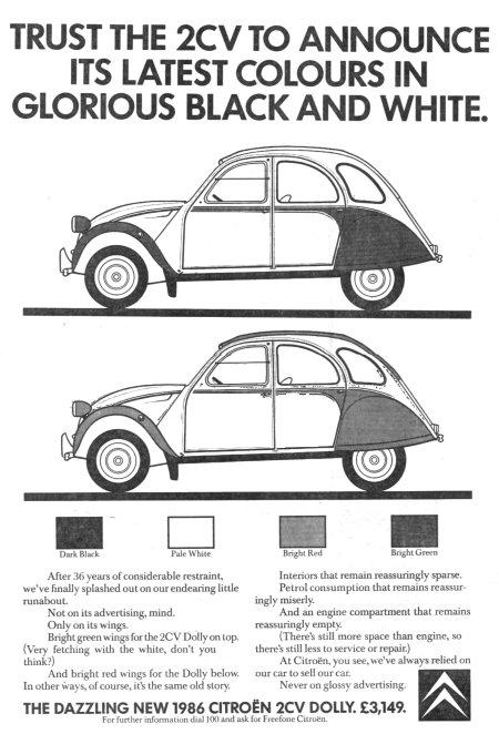 Advertentie 2CV kleuren in zwart en wit