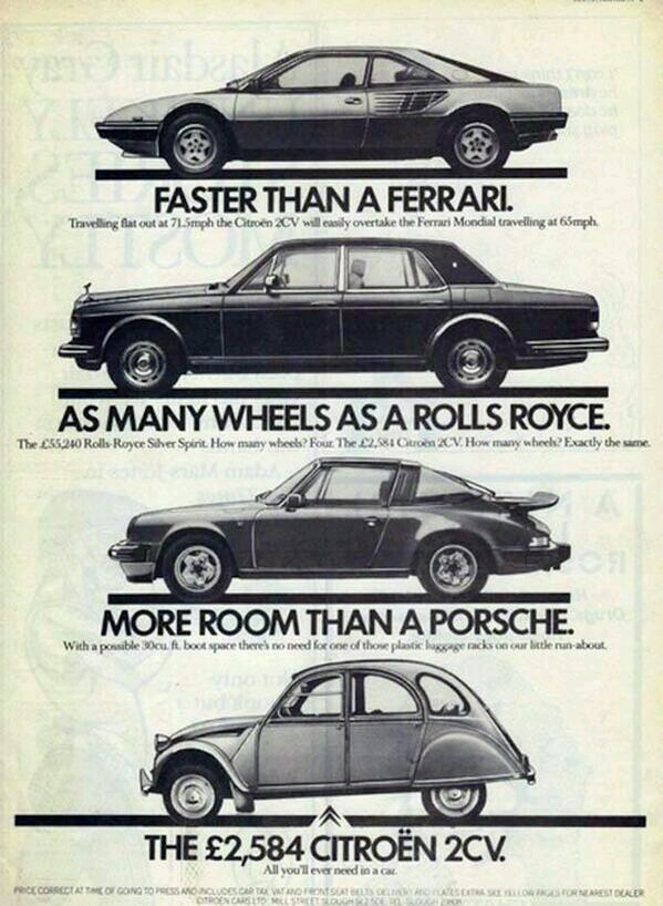 Advertentie 2CV. Ferrari, Rolls Royce, Porsche