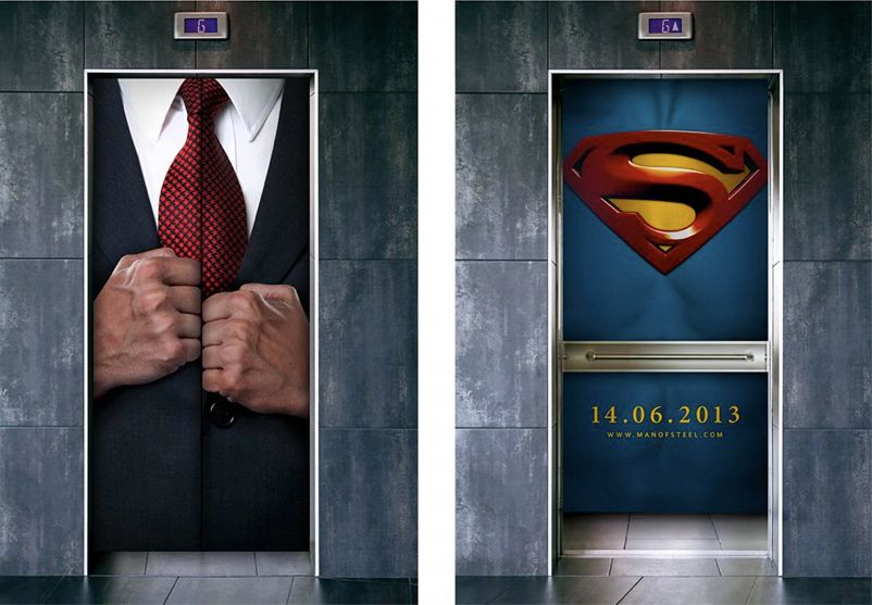 Advertentie lift Superman