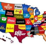 Grootste merken per staat in de VS op de kaart