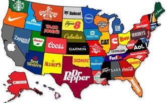 Bekendste merk per staat in de VS