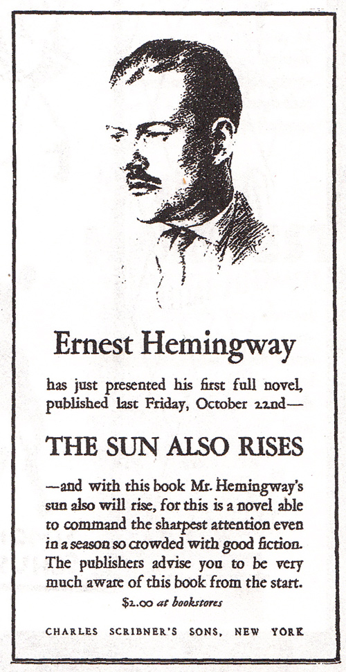 Eerste advertentie voor Ernest Hemingway - The First Novel 1926