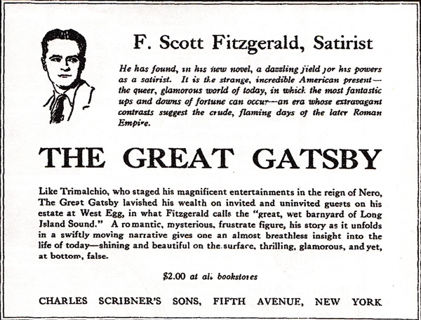 Eerste advertentie voor the great Gatsby 1925