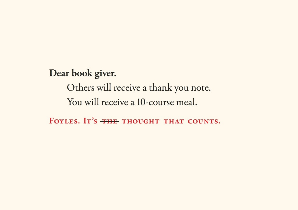 Foyles -Dear bookgiver 2