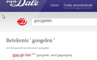 Googelen merk in het woordenboek Van Dale