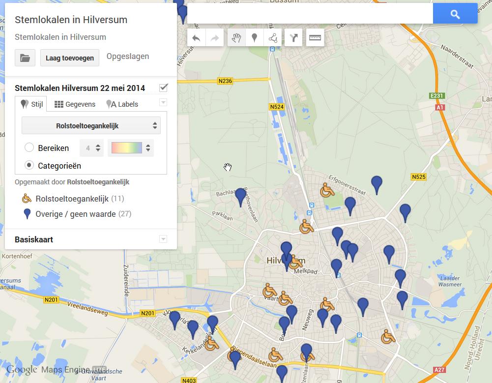 meerdere locaties op kaart weergeven