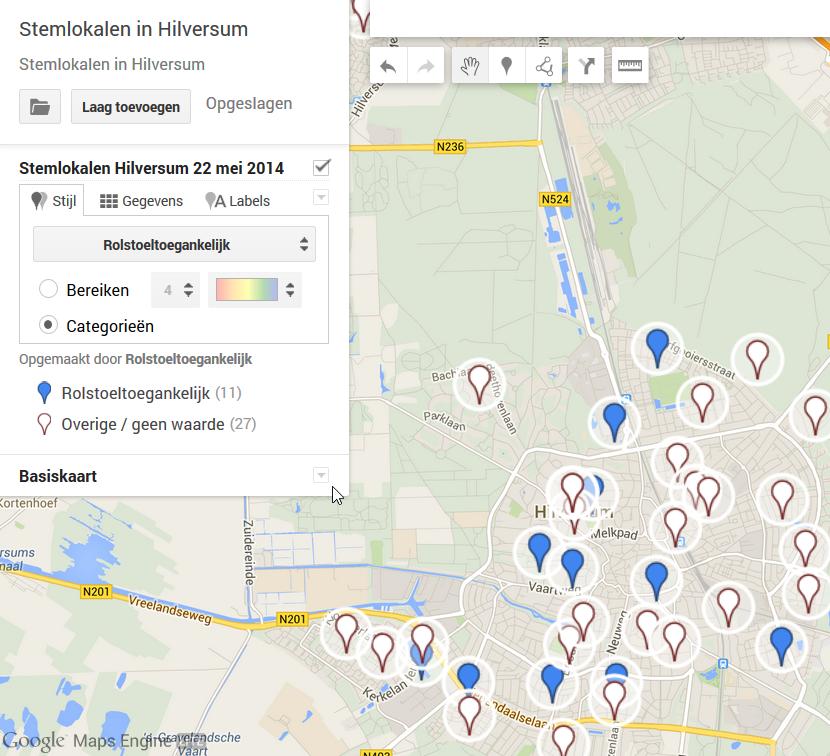 Google Maps - aangepaste kaart maken - stijl per categorie - standaard labels