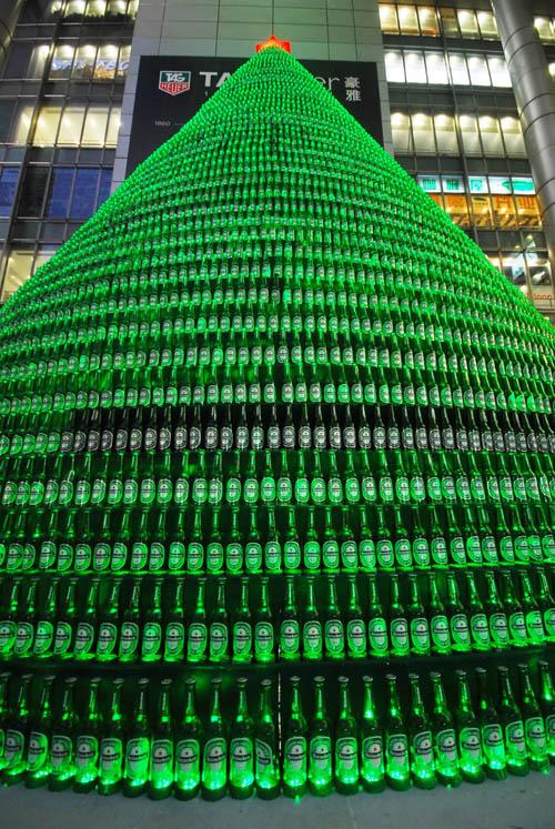 Kerstboom flesjes heineken