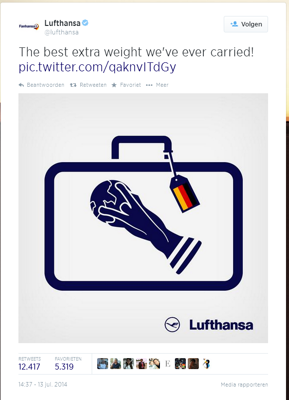 Lufthansa Congratulations Germany wk14 best extra weight we ve carried
