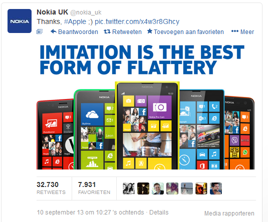Nokia response to iPhone5S kleurige cases