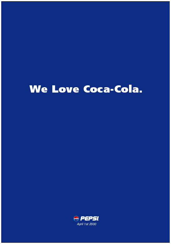 Pepsi vs Coca Cola 1 april Ad