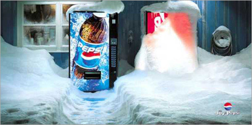 Pepsi vs Coca Cola vending machine snow Ad