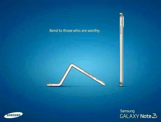Samsung Galaxy Note 3 iPhone 6 bow to those who are worthy bendgate