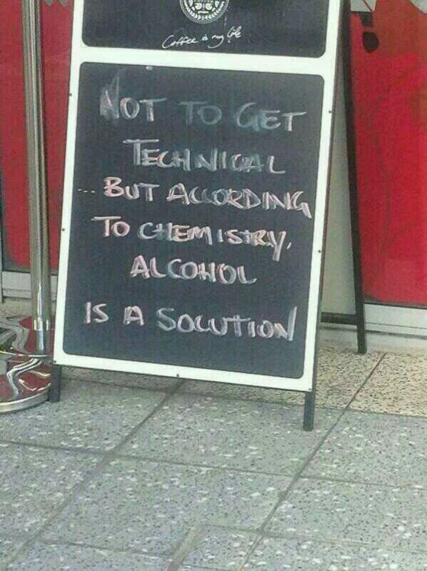 Stoepbord. Not to get technical but according to chemistry alcohol is a solution