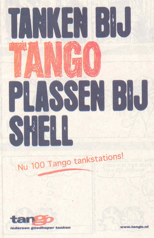 Tanken bij Tango, plassen bij Shell