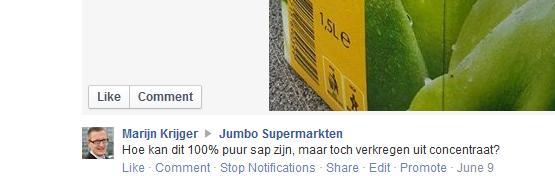 Vraag aan Jumbo, appelsap 100 procent en toch concentraat