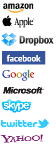 apple, facebook, google, amazon, skype, microsoft, dropbox, yahoo, twitter