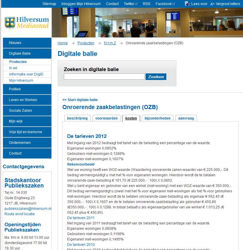 in 2014 ozb tot 2012 op hilversum nl