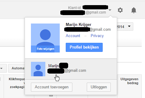 multi inlog Google AdWords klantencentrum