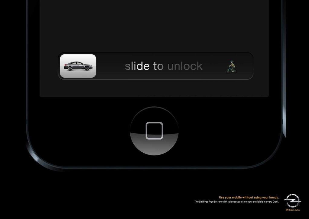 sms en rijden, text and drive Opel, unlock swipe