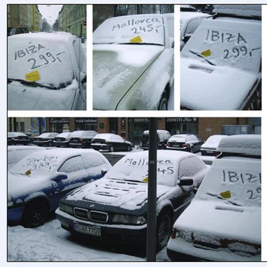 sneeuw reclame reisbureau