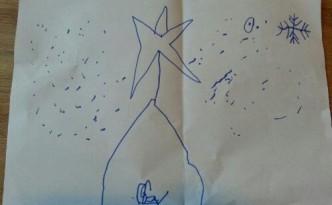 Tekening van de kerststal door mijn zoon van zes