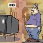 De tv-kijkers-constante. De dikte van een TV en de buikomvang.